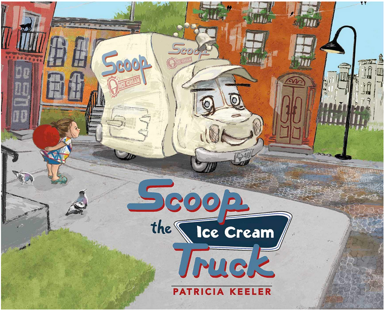 A bookcover  illustration with an ice cream truck in the city with a little girl holding a ball looking at the truck