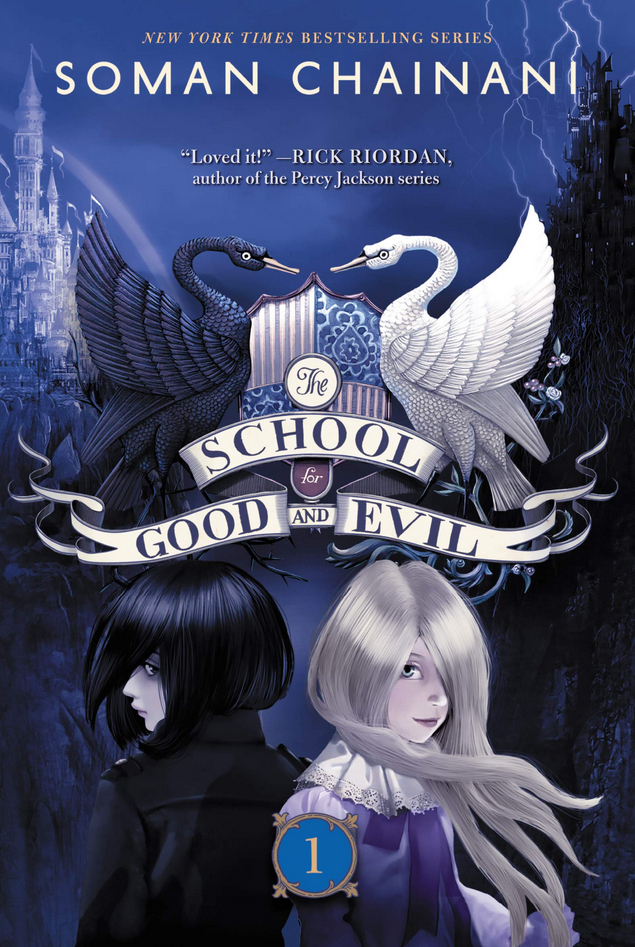 Book cover The School for Good and Evil by Woman Chainani girls on front with black and white swans over their heads