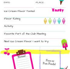 Ice Cream Club Journal Page Printable Lime