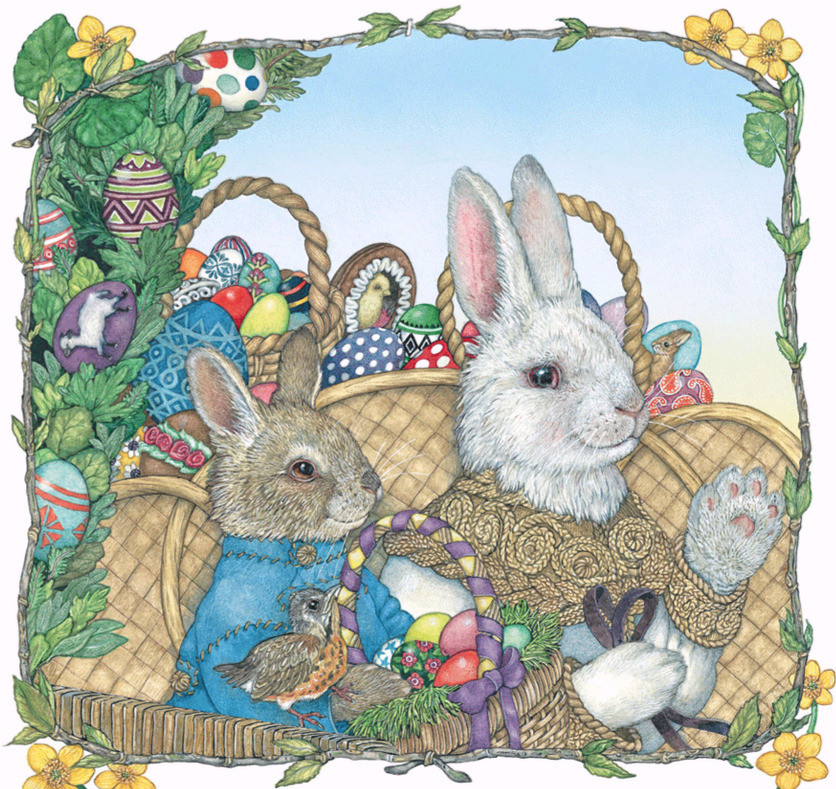 illustration from book The Easter Egg by Jan Brett shows two bunnies sitting with baskets filled with decorated Easter eggs