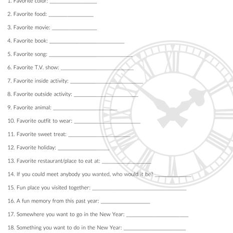 Time Capsule Questionaire Printable