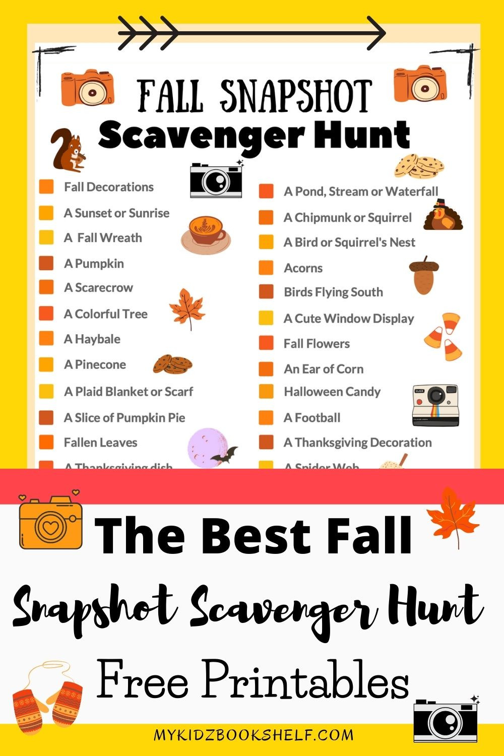 The Best Fall Scavenger Hunt Free Printable with fall list and pictures
