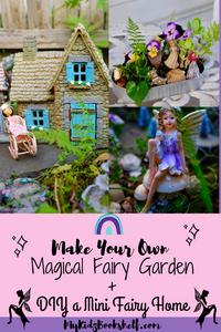 Fairy garden pin for Pinterest showing Fairy cottage, house, mini DIY fairy garden and winged fairy on mushroom