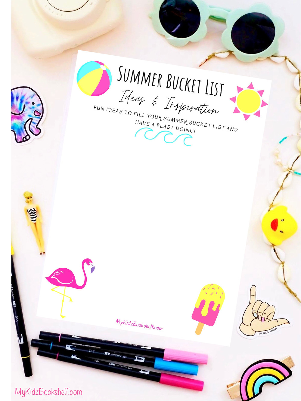Summer Bucket List Ideas & Inspiration Free Printable paper to write your ideas on