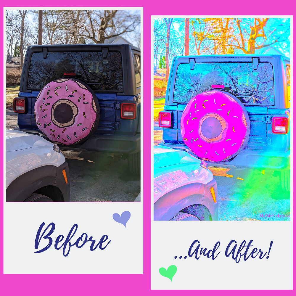 two photos side by side of Jeeps with tire cover that looks like donut with sprinkles - second photo is processed to be really bright