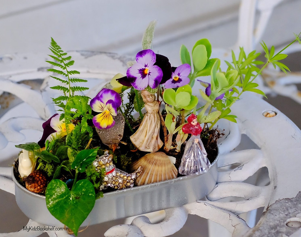 Fairy garden DIY  tin with fern, morning glory, Ariel, angel and succulent
