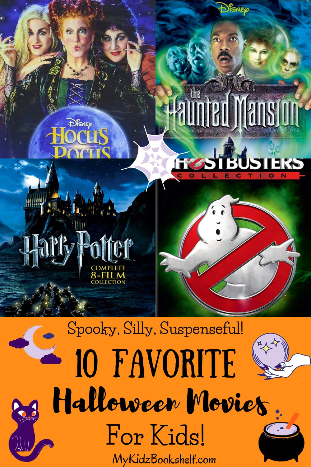 10 Favorite Halloween Movies for Kids with movie posters Hocus Pocus Ghostbusters, Harry Potter Disney