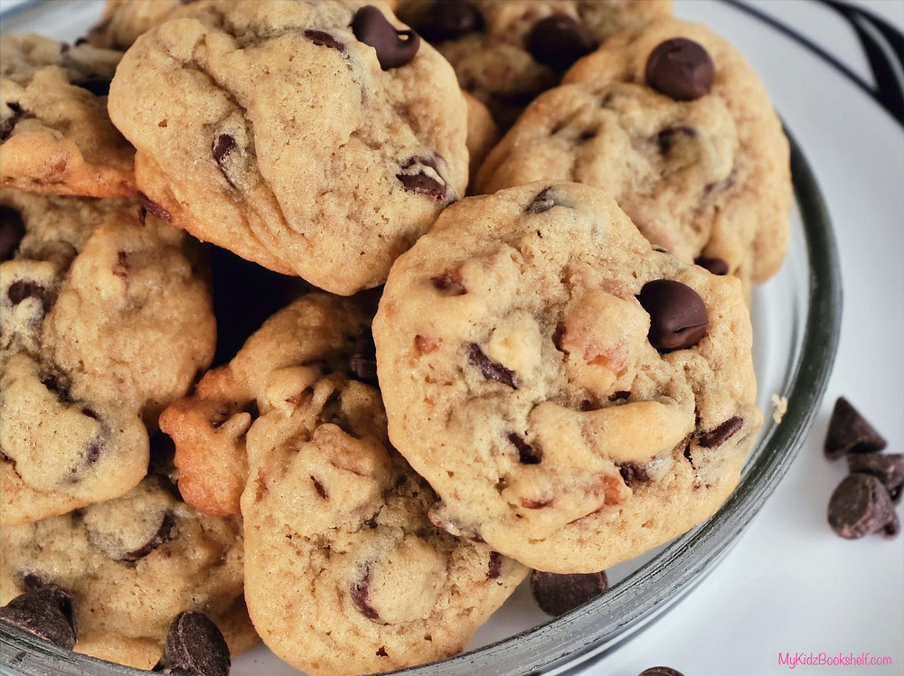 Chocolate chip cookies - original Toll House Chocolate Chip Cookie recipe from Nestle bag by Ruth Wakefield