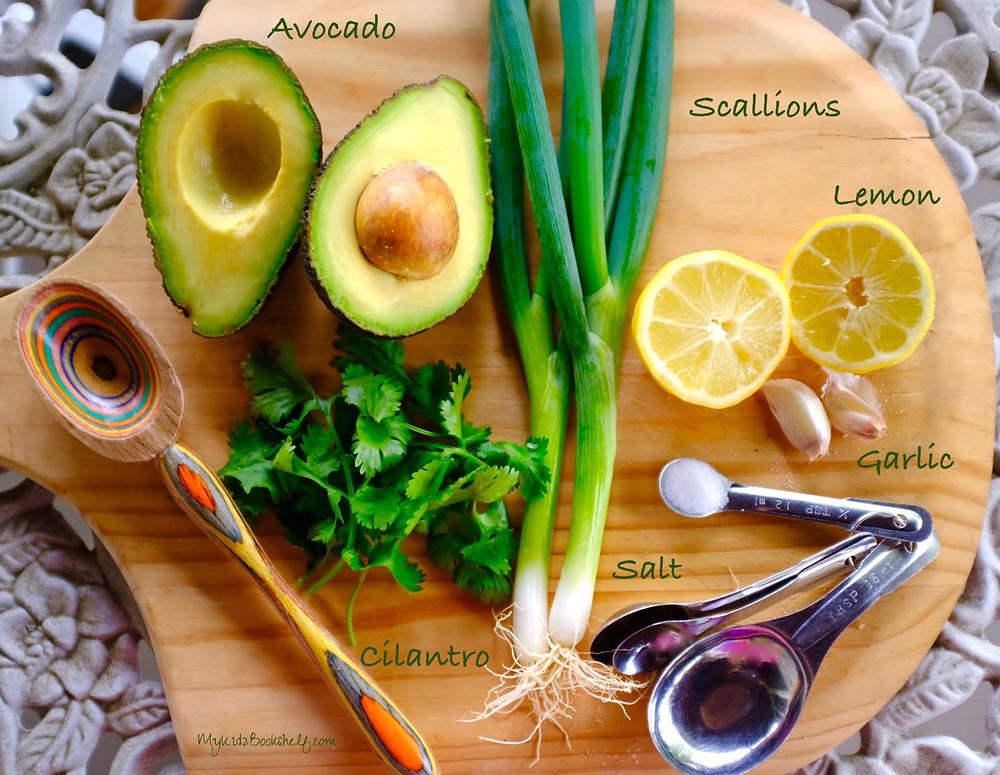 guacamole ingredients avocado, scallions, lemon, garlic, cilantro