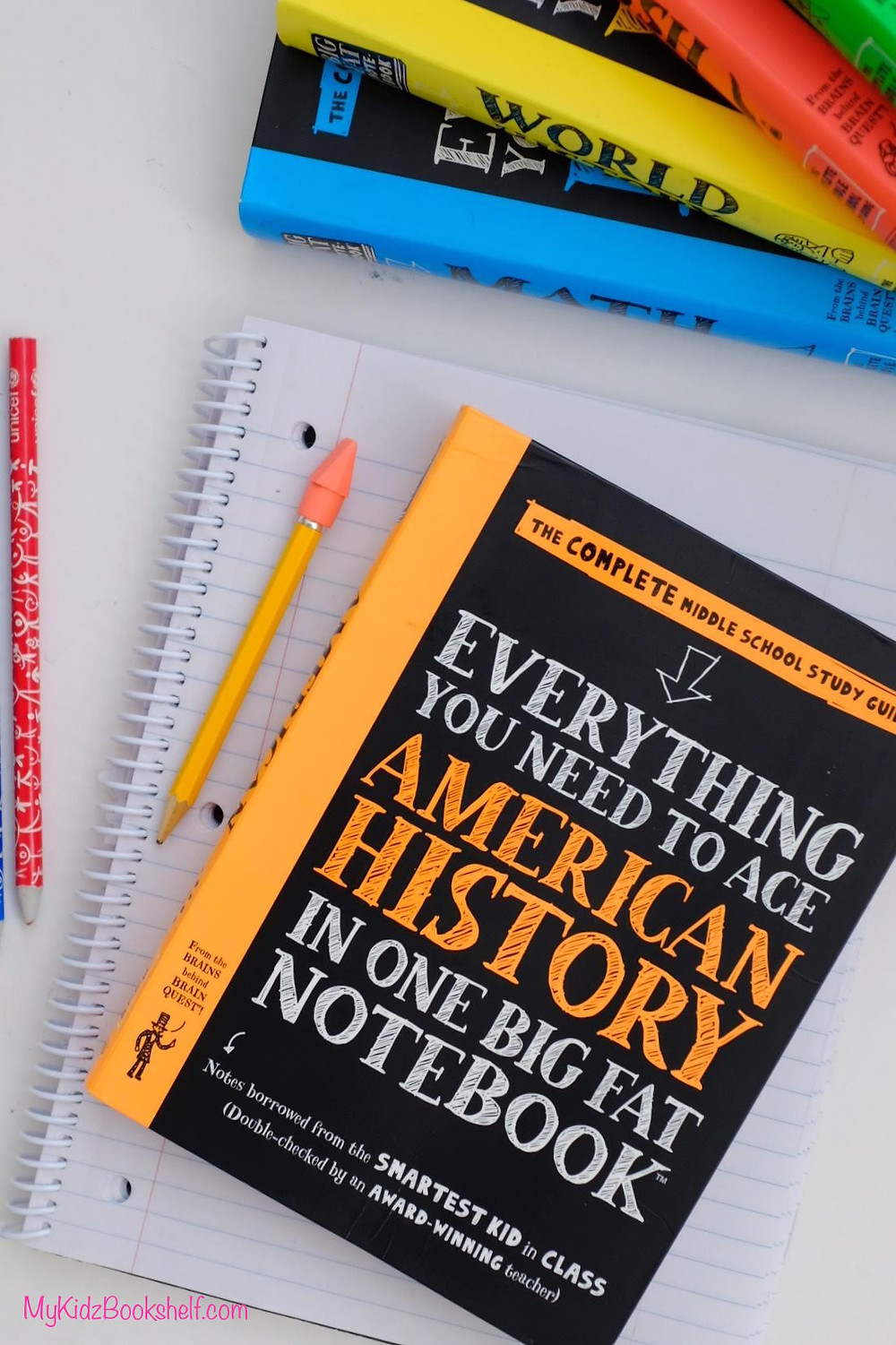 Brain Quest Everything you need to Ace American History in one big Fat Notebook with pencil and notebook