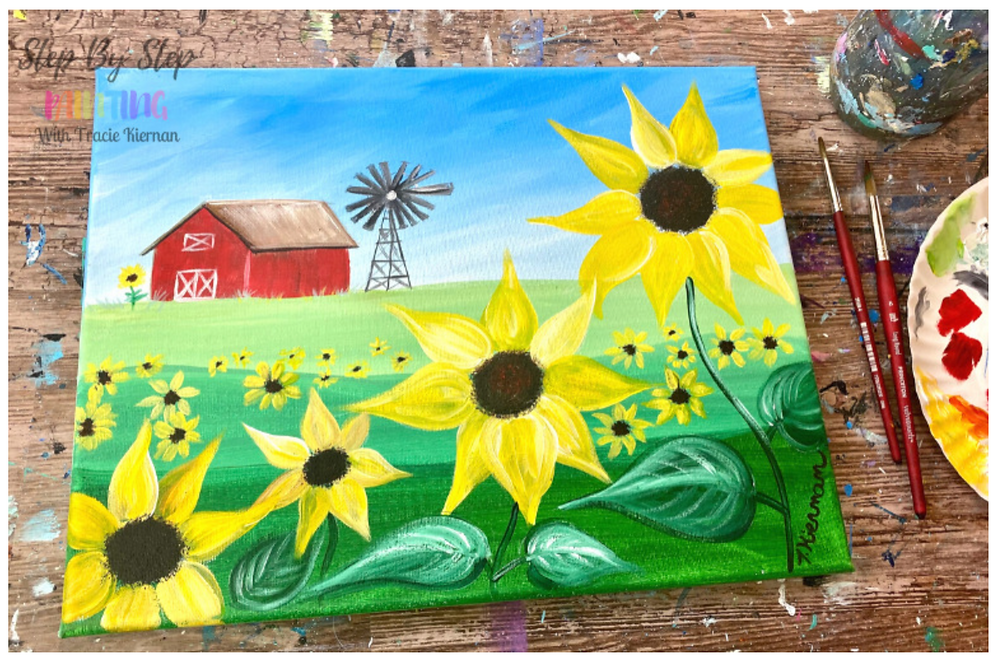 painting of barn and sunflowers