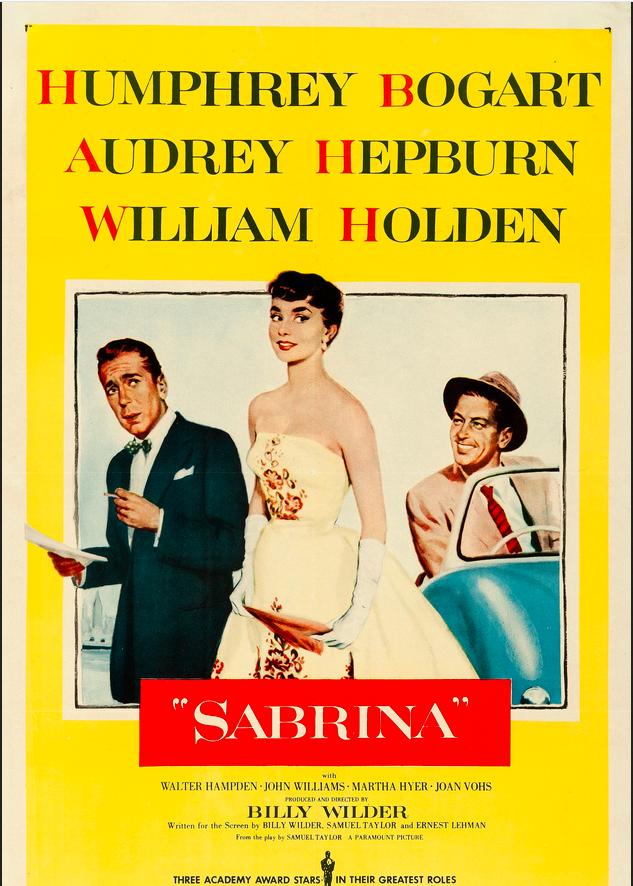 Sabrina movie poster with Humprey Bogart Audrey Hepburn and William Holden