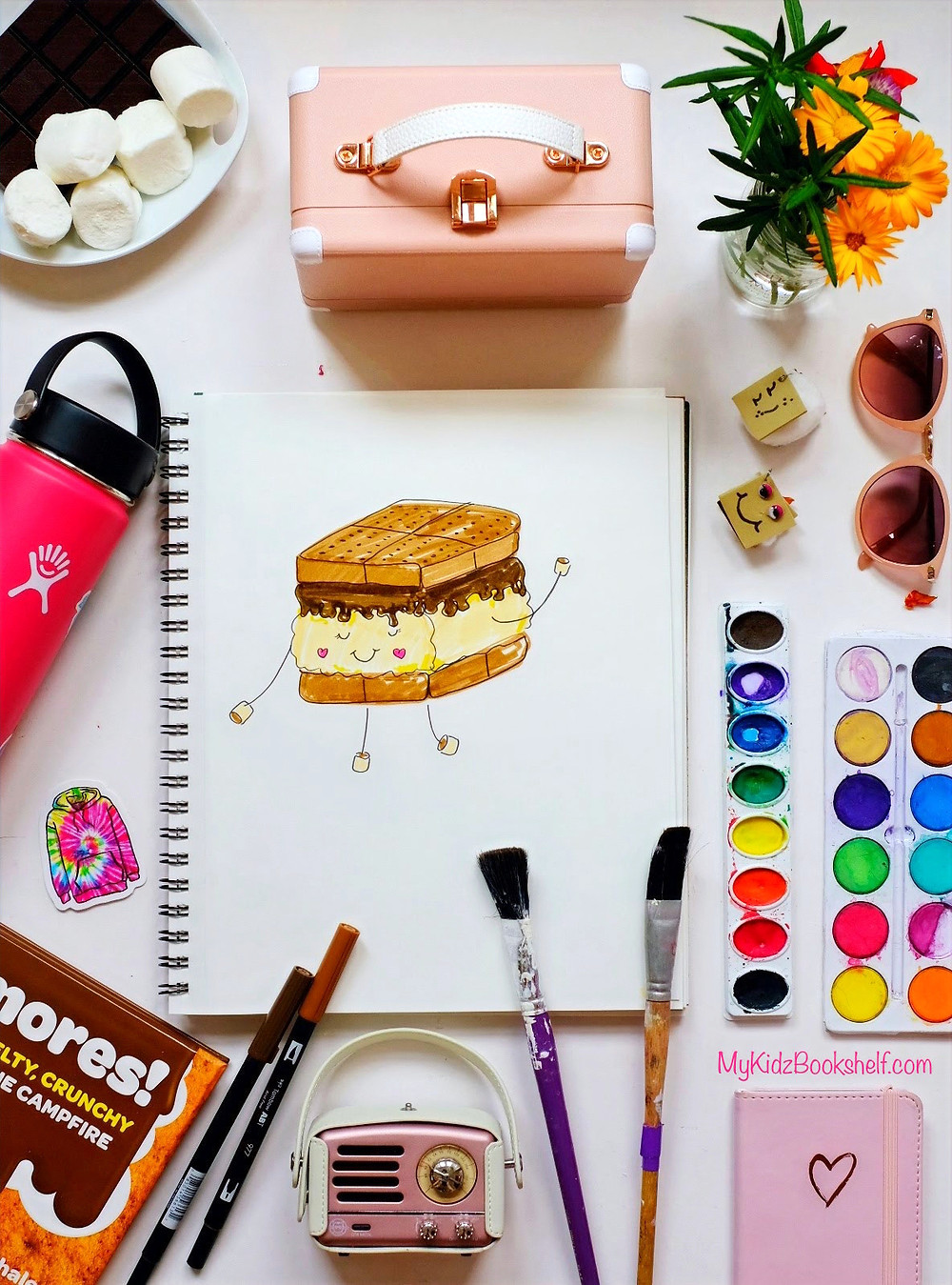 How to Draw S'more diy tutorial with art supplies, marshmallows and Hydroflask
