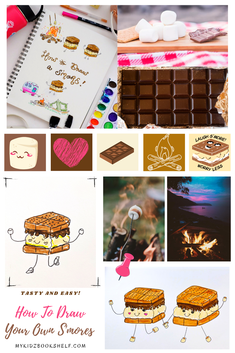 How to draw S'mores Tutorial inspiration board