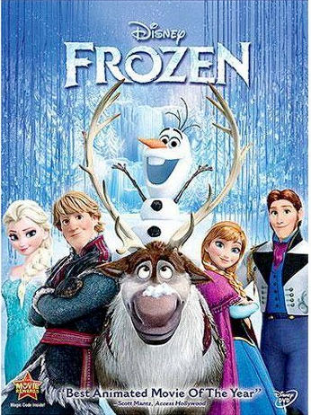 Frozen dvd cover with Elsa, Anna, Kristoff, Sven, Olaf and Hans with snowy background