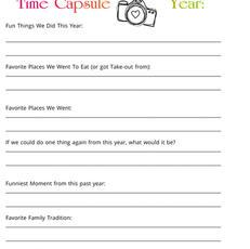 Family Memories Time Capsule Printable