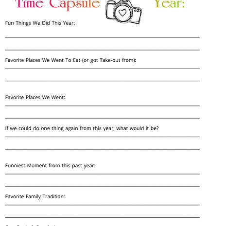 Family MemoriesTime Capsule Printable