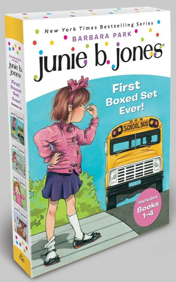 Junie B. Jones book set by Barbara Park shows girl looking at school bus
