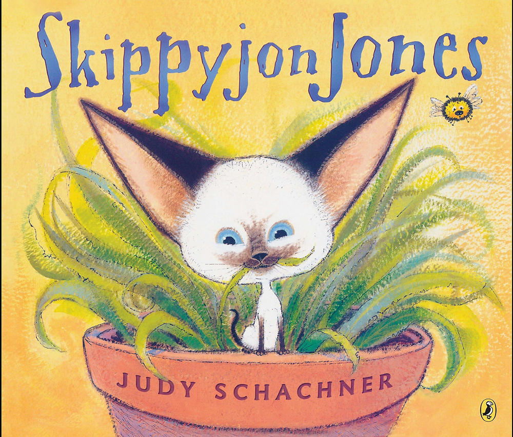 Skippyjon Jones by Judy Shachner book cover with Siamese cat in terracotta pot