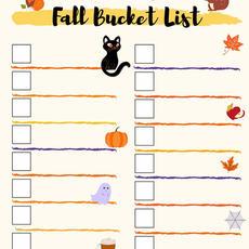Fillable Fall Bucket List Printable