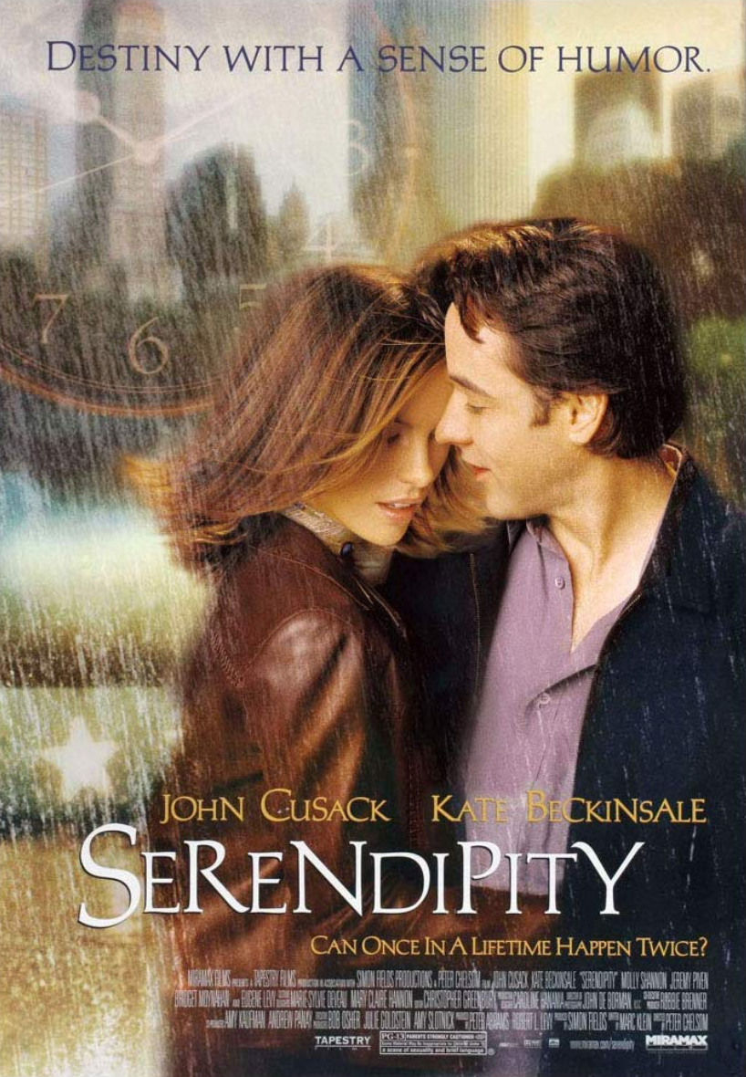 Serendipity movie poster for Serendipity with John Cusack and Kate Beckinsale