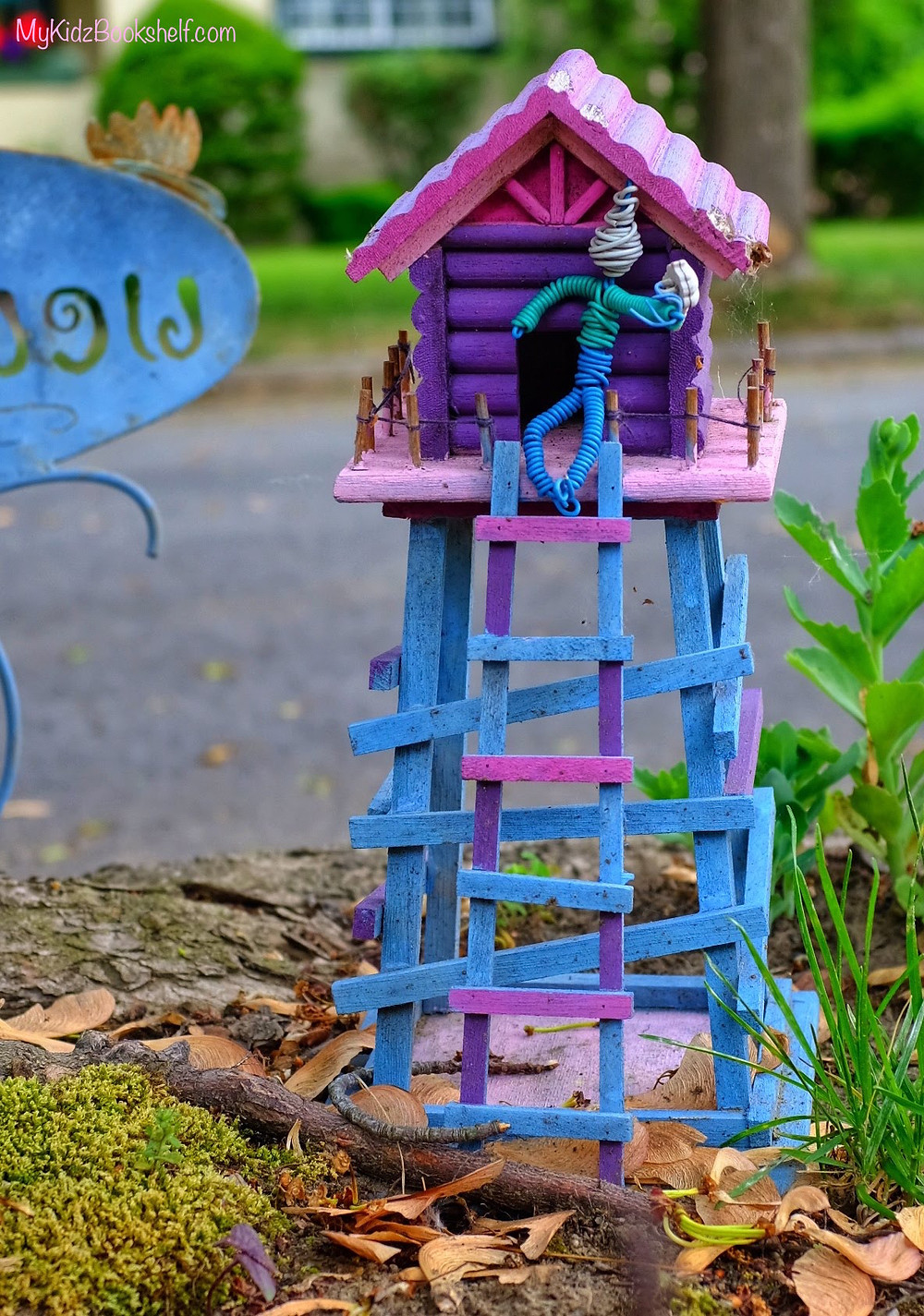 Fairy Garden fire tower with wire person at top