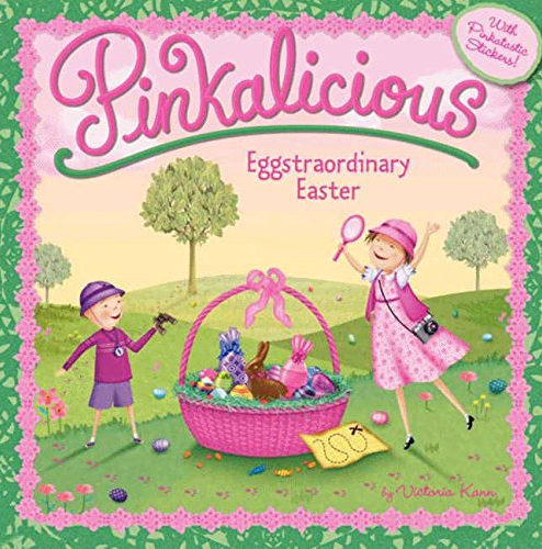 Pinkalicious Eggstraordinary Easter cover with boy and girl playing with pink Easter basket in between them trees in background and map on grass