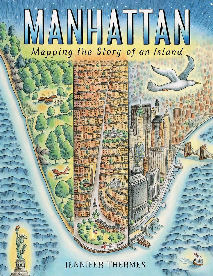 Bookcover-for-the-picture-book-Manhattan-Mapping-the-Story-of-an-Island-by-Jennifer-Thermes