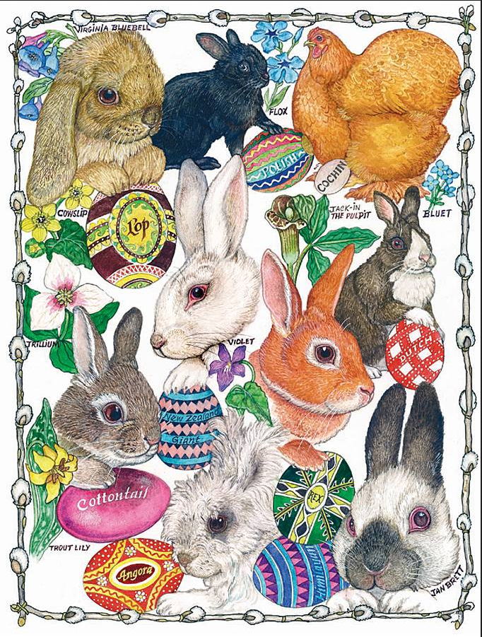 Illustration from Jan Brett's The Easter Egg has illustration of eight different rabbits and one chicken