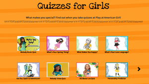 quizzes for Girls screenshot from American Girl website