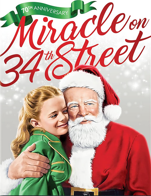 Miracle on 34th Street dvd cover with Santa Claus and little girl hugging