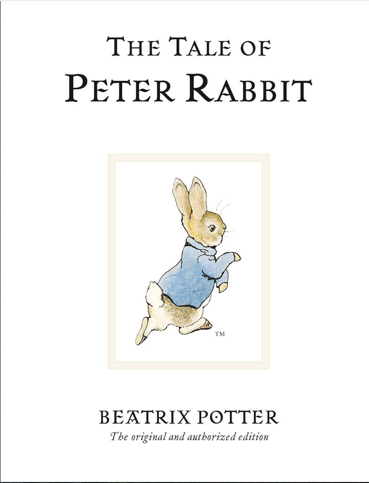 The Tale of Peter Rabbit by Beatrix Potter book cover shows bunny in blue coat