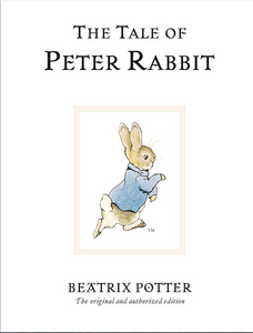 The Tale of Peter Rabbit by Beatrix Potter original edition with drawing of Peter Rabbit bunny wearing blue coat on cover