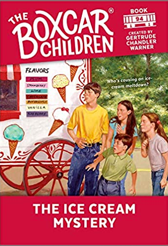 The Boxcar Children The Ice Cream Mystery bookcover with kids by an ice cream truck