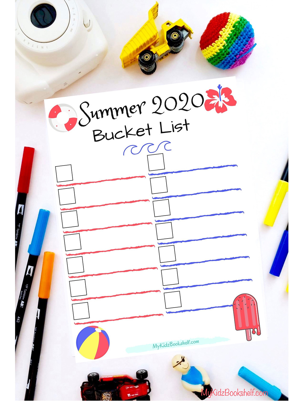 Summer 2020 Bucket List Fill in printable with popsicle and beach ball
