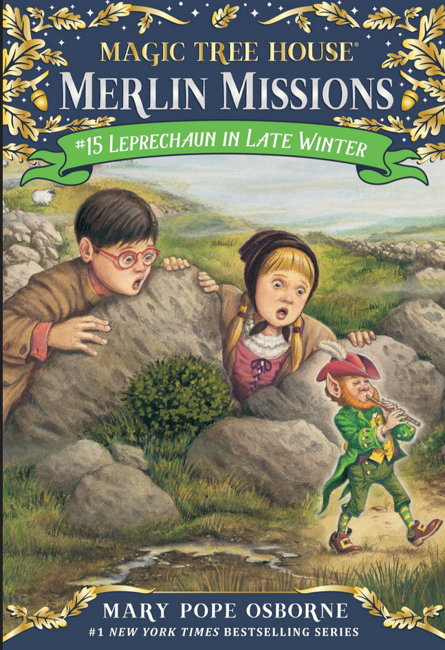 Book cover, Magic Tree House Merlin Missions #15 Leprechaun in Late Winter by Mary Pope Osborne shows boy and girl looking at leprechaun