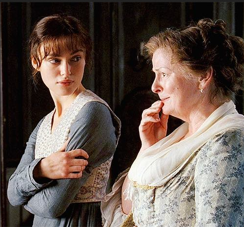 Mrs. Bennett standing next to a daughter from Pride Prejudice