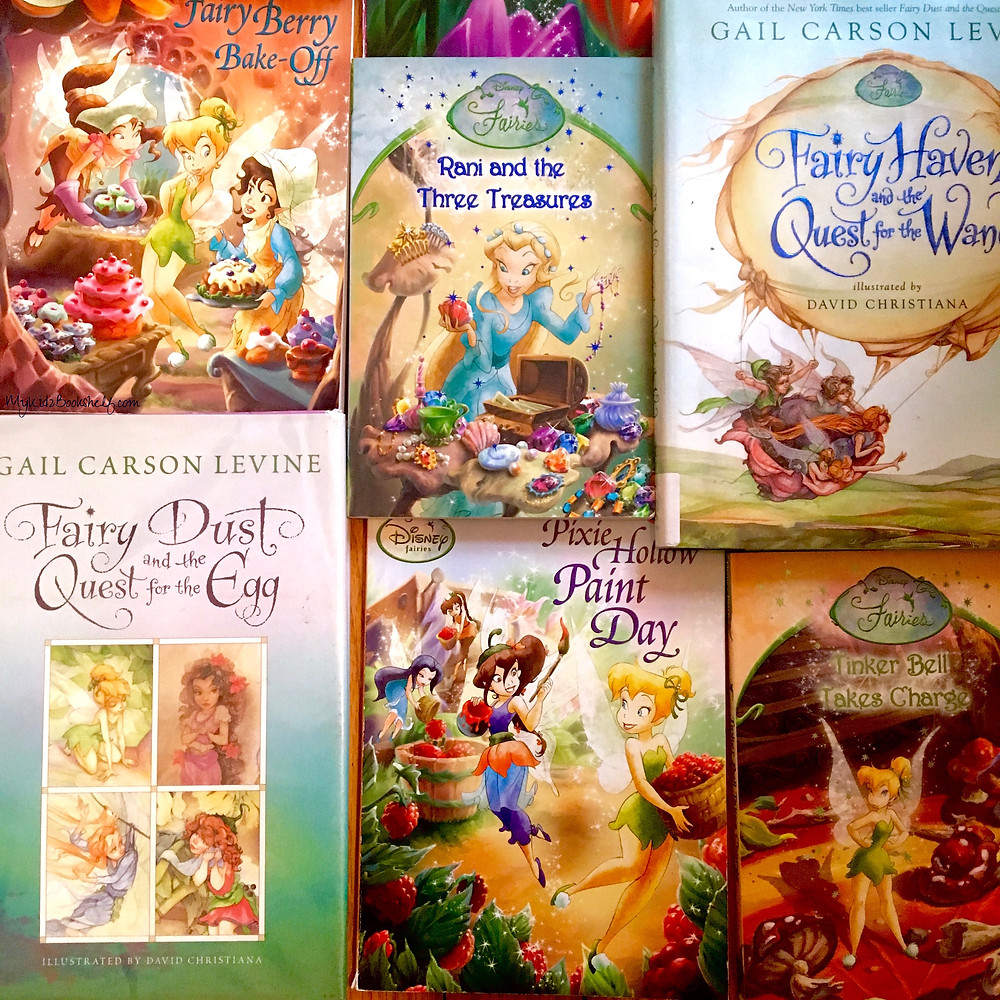 Disney Fairy books with various book covers of fairies, sweets, animals, treasure and more on the cover