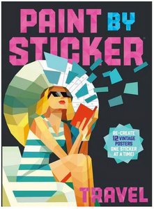 Paint by Sticker Travel book woman in swim dress holding book