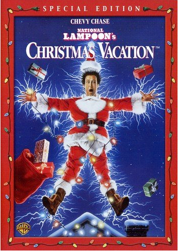 National Lampoon's Christmas Vacation dvd cover with Chevy Chase dressed as Santa Claus with Christmas lights shocking him