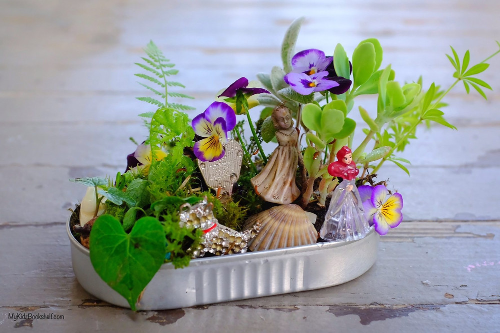 Mini Fairy Garden DIY with morning glory, shell, key, fern, Ariel and pansies