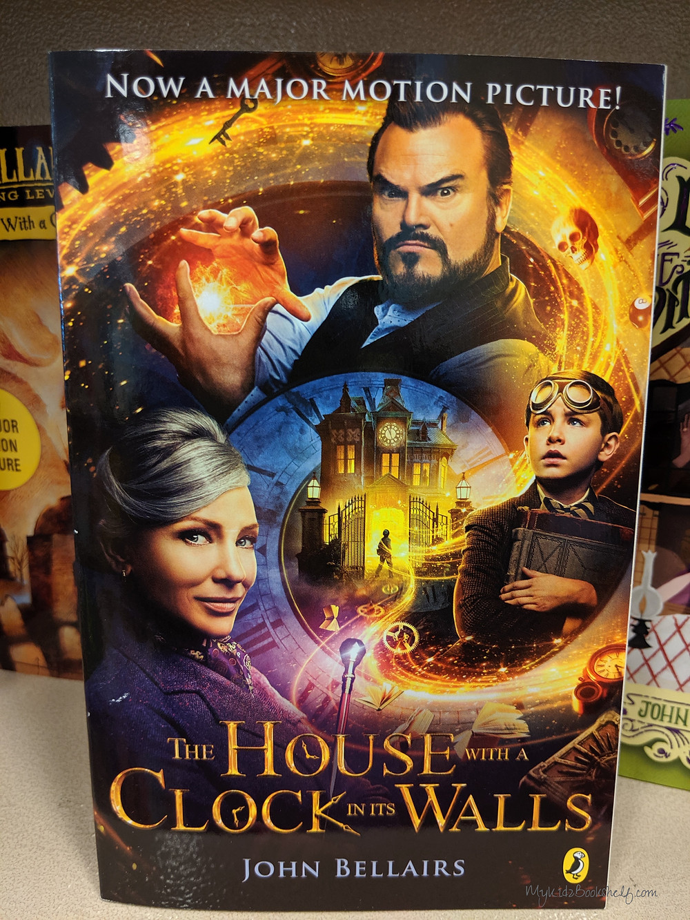 The-House-With-A-Clock-in-its-Walls book showing Jack Black and Cate Blanchett from the movie