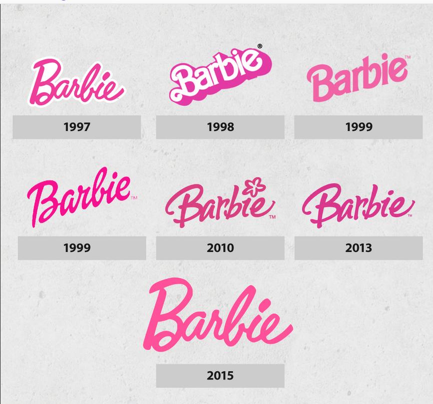 Barbie logos through time