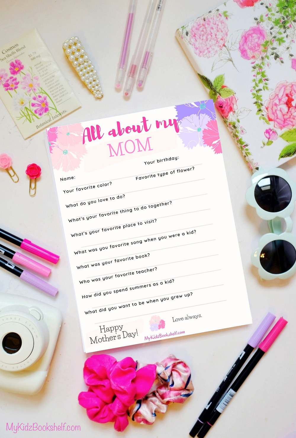 All about my mom Happy Mother's Day printable free