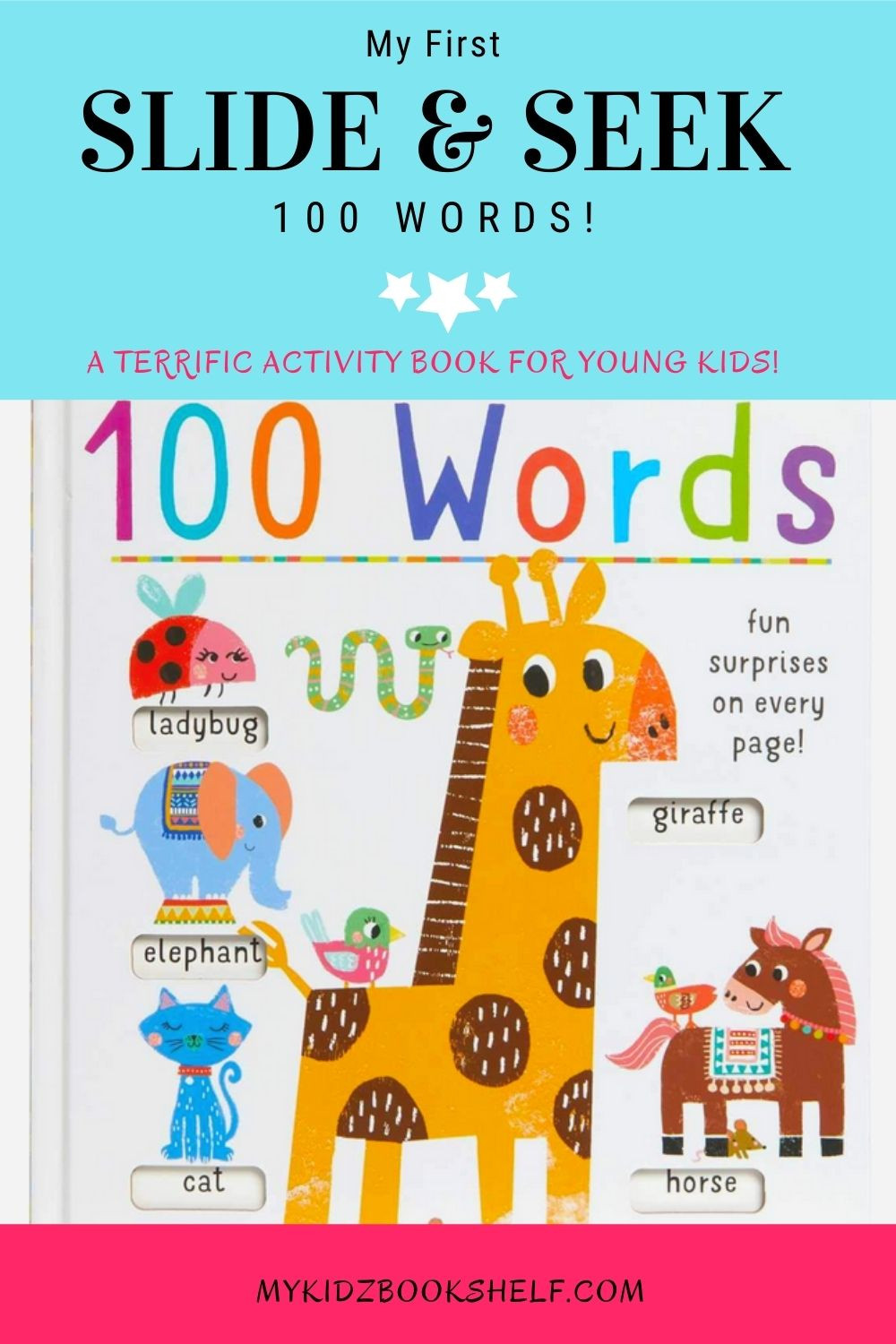 Slide and Seek 100 words book with giraffe on cover