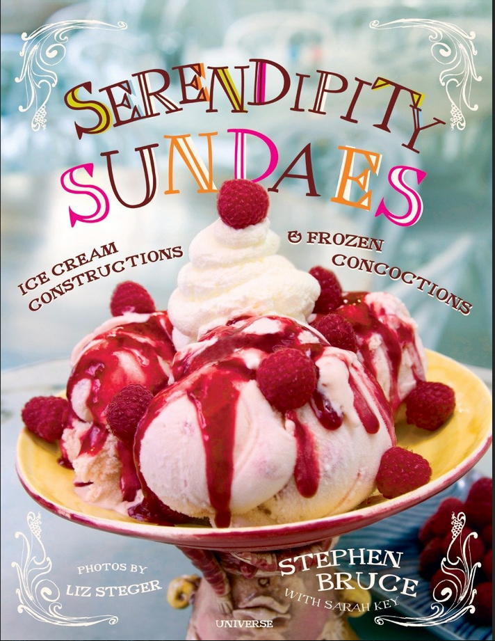 cookbook-cover-of-Serendipity-Sundaes-with-ice-cream-sundae-on-cover-with-whipped-cream-and-cherry