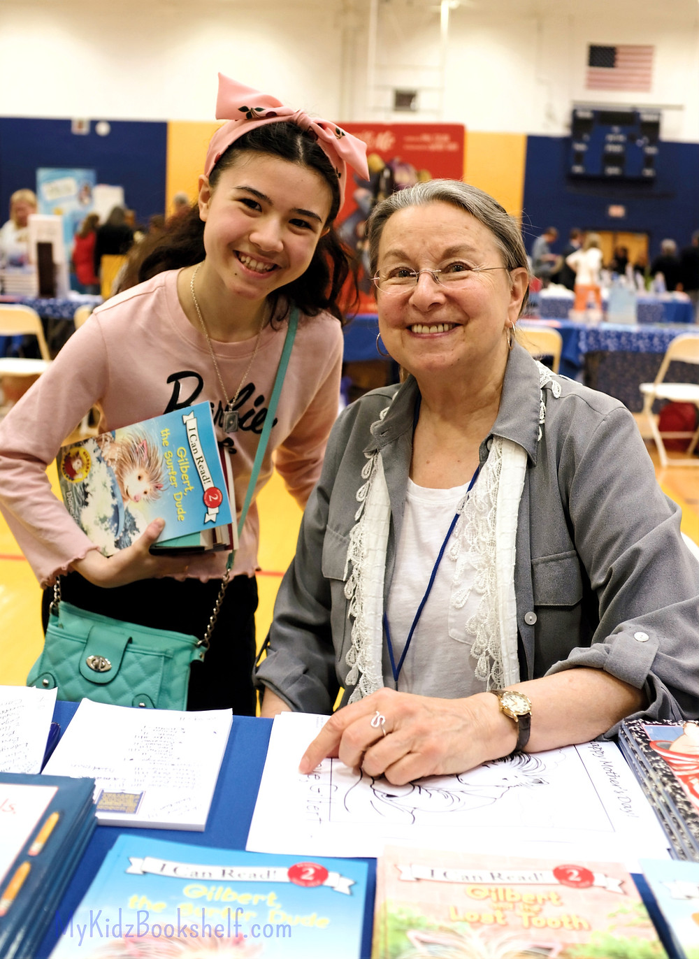 photo of my kidz bookshelf blogger and Diane deGroat author of Gilbert books