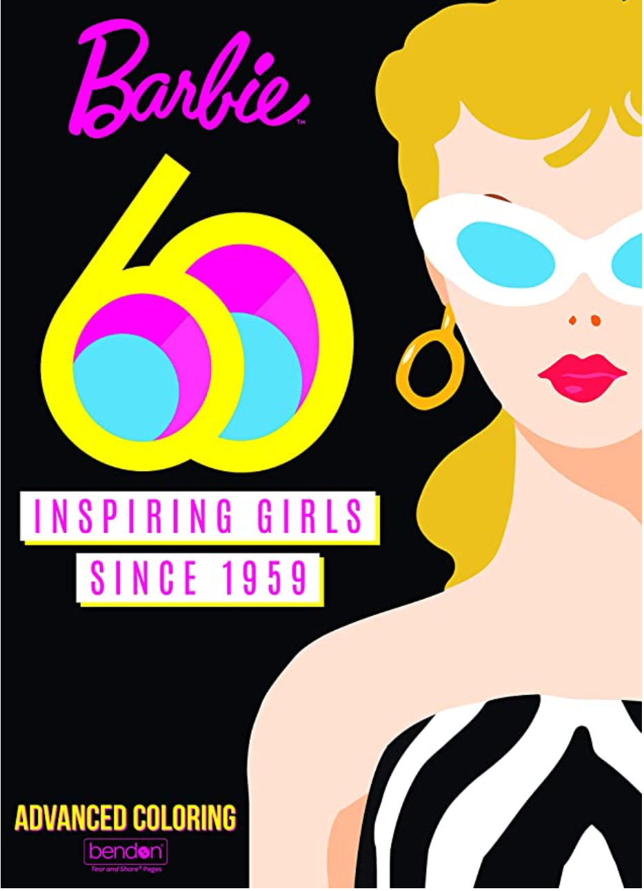 Barbie 60th Inspiring Girls Since 1959 Coloring Book with illustration of Barbie on the cover