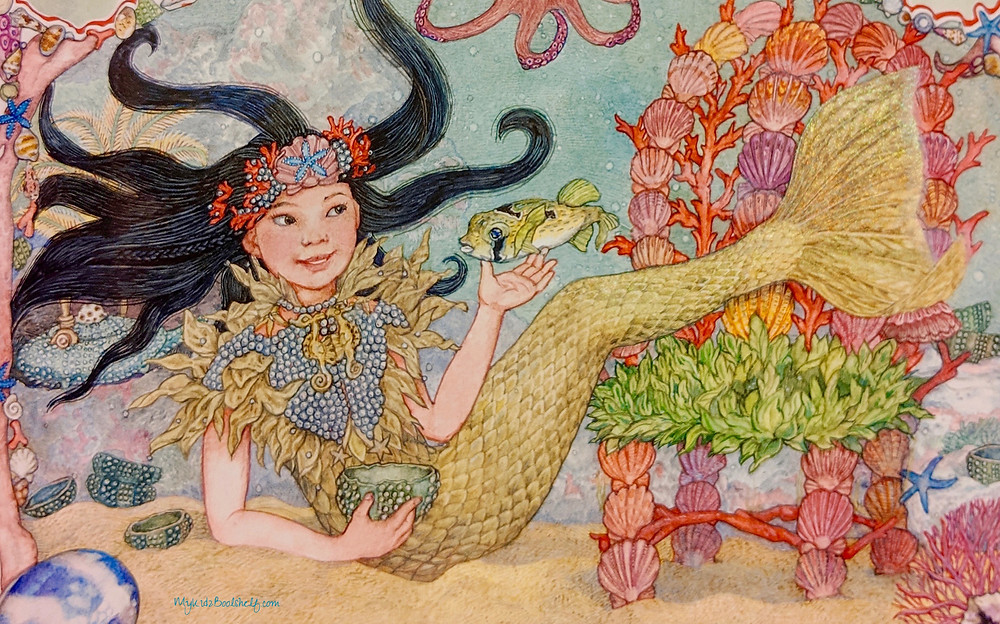 The Mermaid by Jan Brett illustration mermaid with black hair underwater with fish, shells and coral