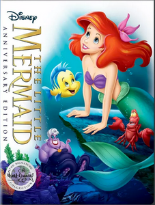The Little Mermaid DVD cover by Disney shows Ariel, Flounder and Ursula